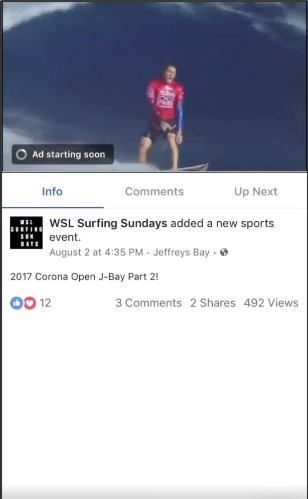 Facebook in-stream video example