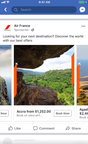 Screenshot Facebook feed carousel ad