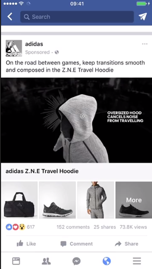 Screenshot of a Facebook feed collection ad