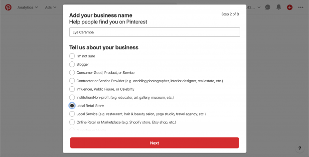 """Add your business name"" screen on Pinterest"