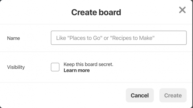 """Create board"" page on Pinterest business profile, including ""Name"" and ""Visibility"" fields"