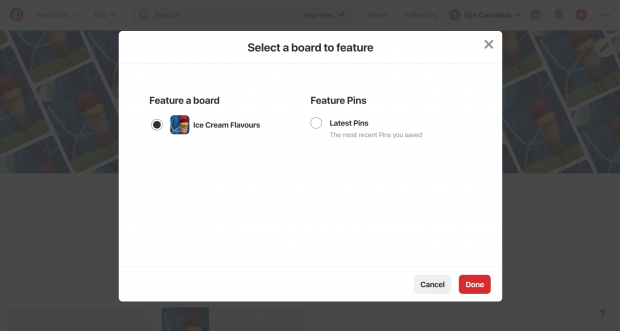 """Select a board to feature"" prompt on Pinterest business profile"