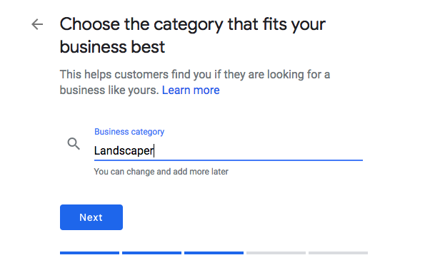 Choosing a business category option