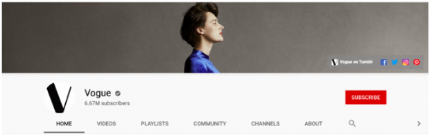 Vogue YouTube channel art