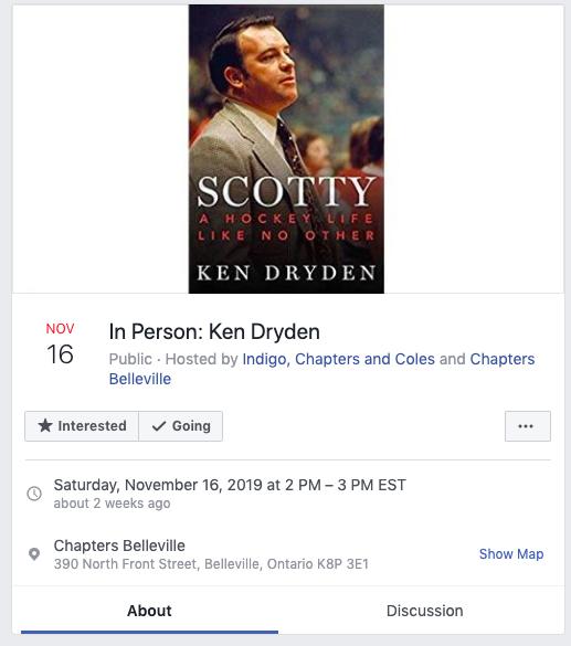 "Facebook event for ""In Person: Ken Dryden"" in Bellville Ontario on November 16, 2019"