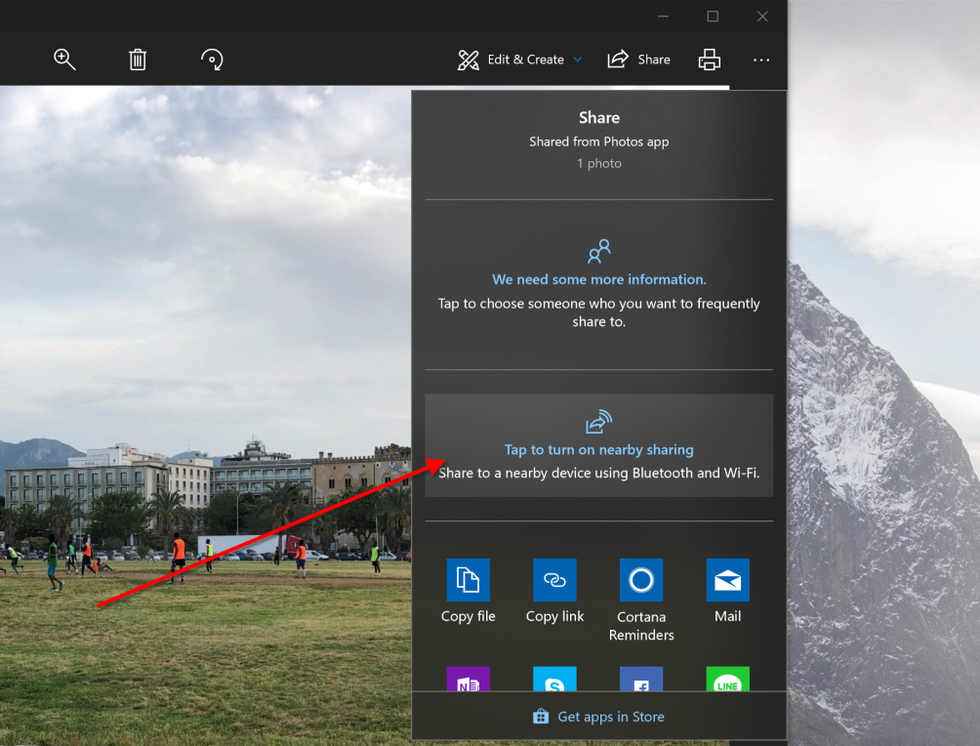 Nearby Sharing in Windows 10