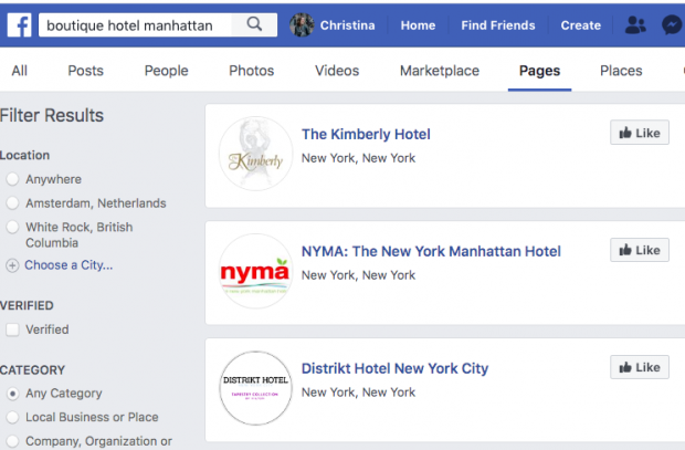 "Screenshot of Facebook search results for ""boutique hotel manhattan"""