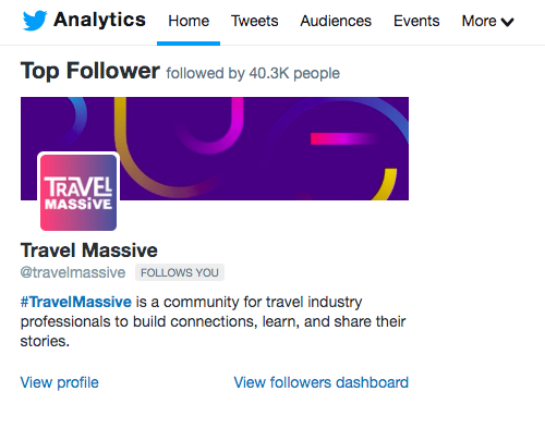 """Top Follower"" view in Twitter analytics"
