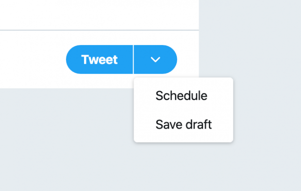 """schedule option on """"Tweet"""" button"""