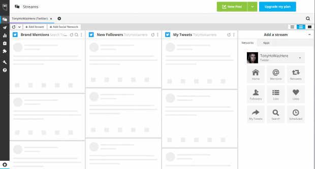 New post button in Hootsuite Dashboard