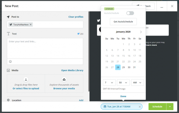 scheduling calendar prompt in Hootsuite Compose