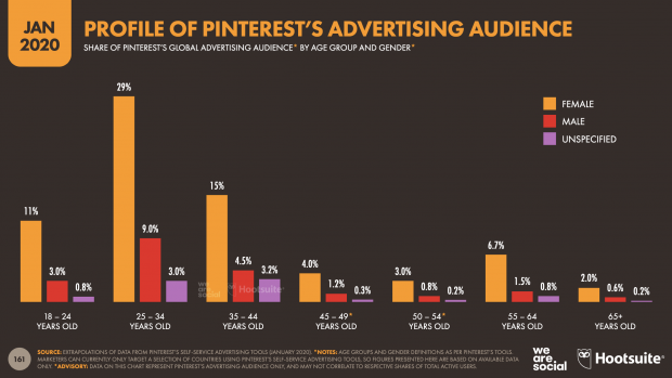 profile of Pinterest's advertising audience