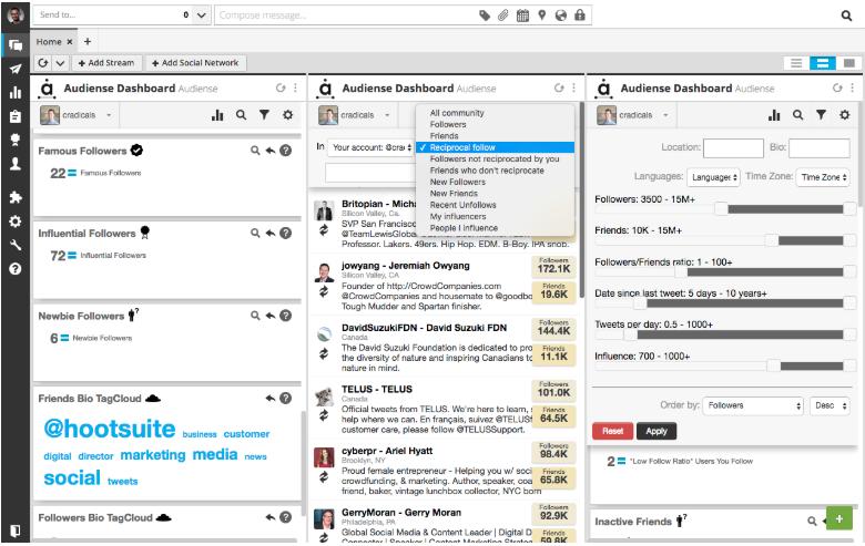 Audiense social listening tool