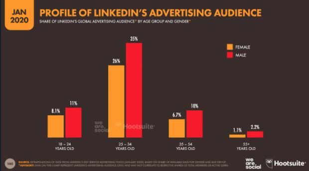 Profile of LinkedIn's advertising audience
