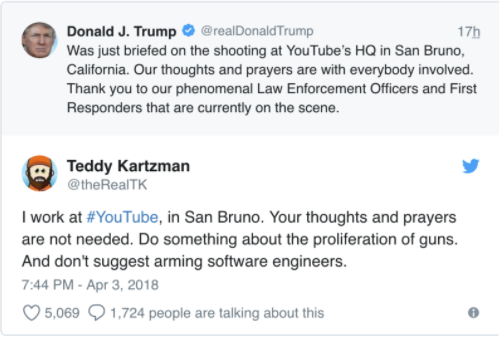 Tweet by Donald J Trump responding to YouTube shooting with negative reply from a YouTube employee requesting stricter gun laws
