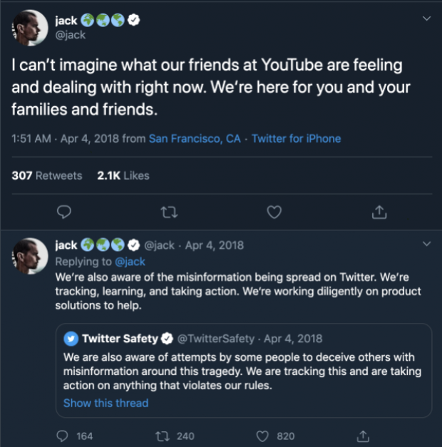 Tweets by Jack Dorsey responding to the YouTube shooting