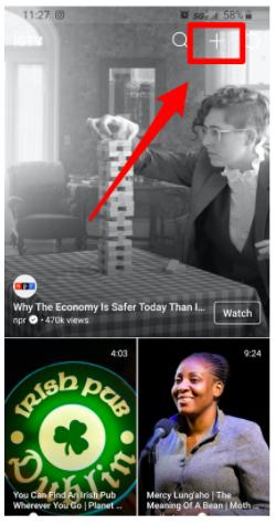 Plus button on IGTV app