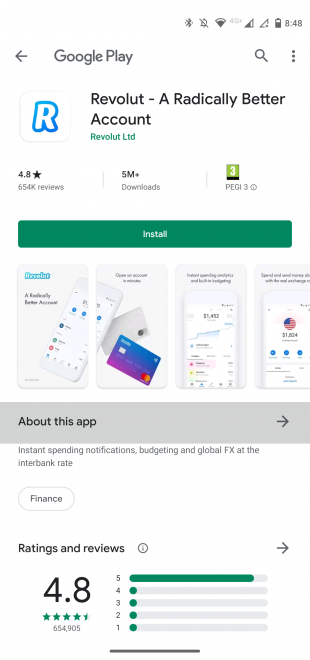 Instagram ad landing page (app on Google Play store) by Revolut