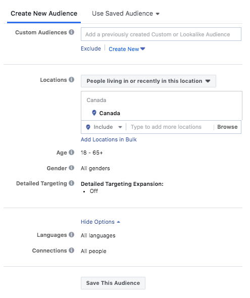 Instagram ads audience targeting options, including age, gender, location, languages, connections