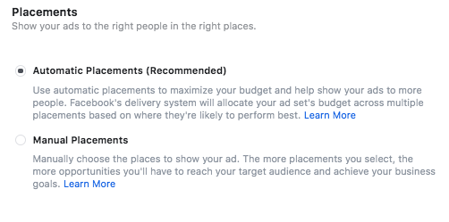 Instagram ads placement options, including automatic and manual