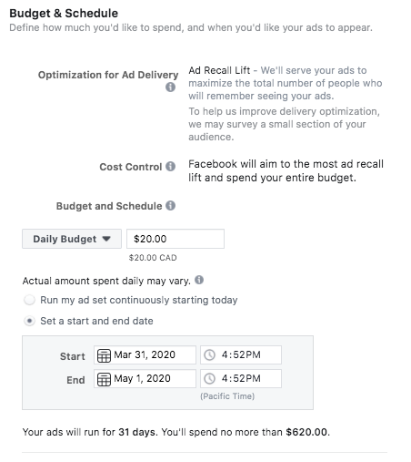 Budget & Schedule options for Instagram ads
