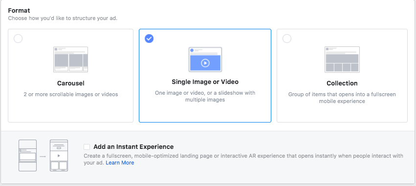 """formatting options for Instagram advertising, including Carousel, Single Image or Video, Collection, and """"Add an Instant Experience"""""""