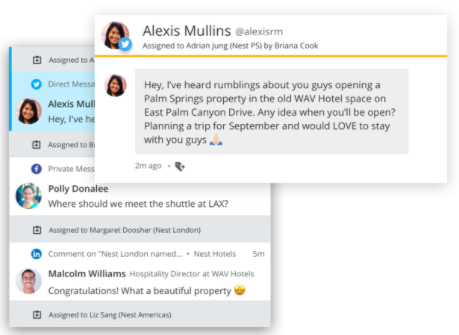 Social media collaboration in action: Assigning a tweet to a team member from the Hootsuite dashboard