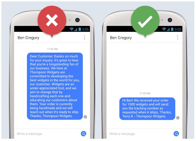 A long Facebook message versus a short Facebook message