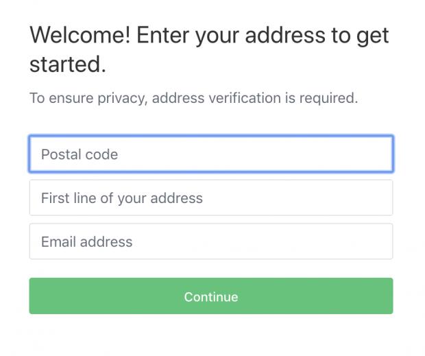 Entering postal code on Nextdoor account creation page