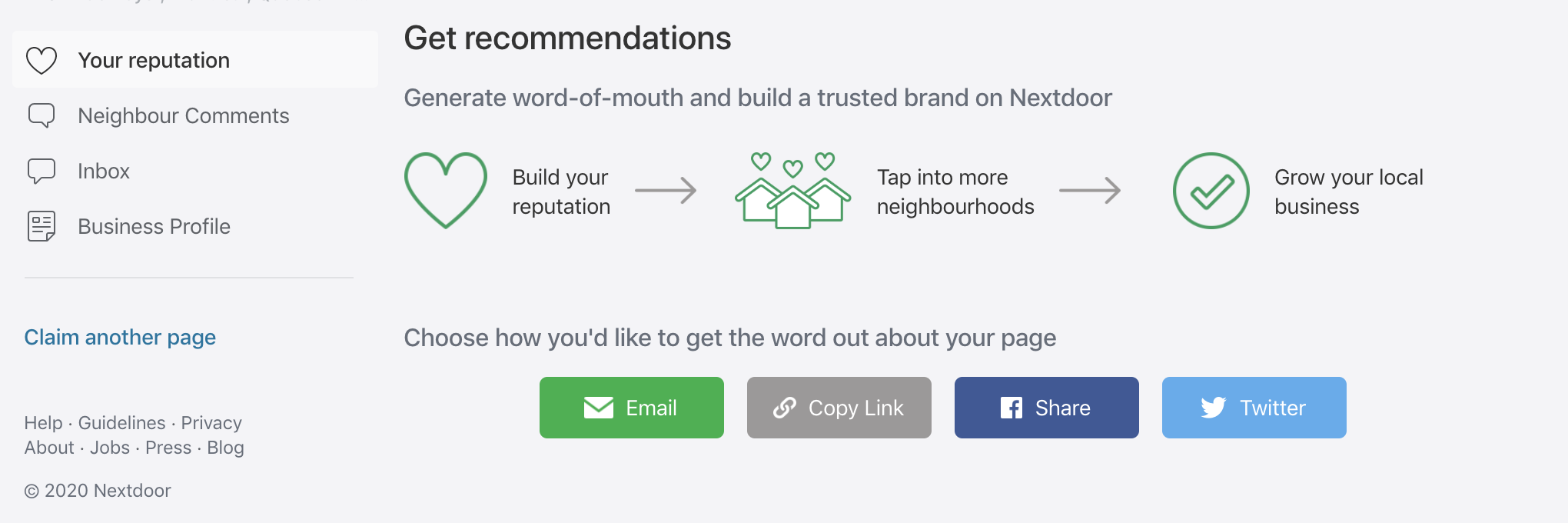 """""""Your reputation"""" tab in Nextdoor for Business with prompt to """"Get recommendations"""" via email, copy link, Facebook share, or Twitter"""