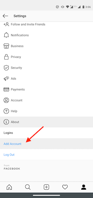 Add Account button on the Instagram app