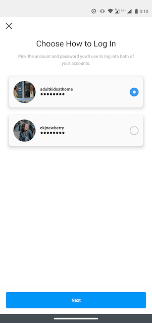 """Option to """"Choose How to Log In"""" on Instagram"""
