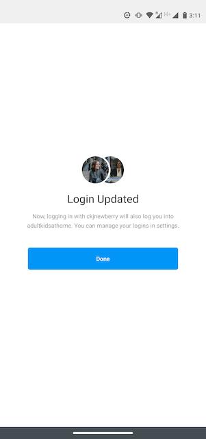 Login Update page on Instagram