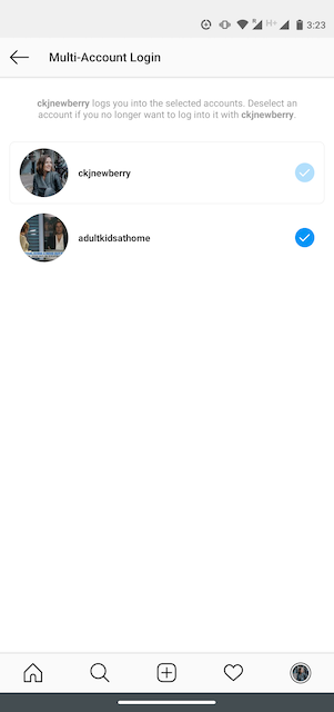 Option to deselect an account on Instagram's Multi-Account Login page