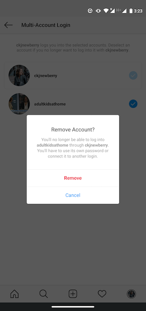 Option to remove an account on Instagram