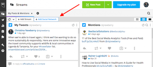 Button to add another social network in Hootsuite