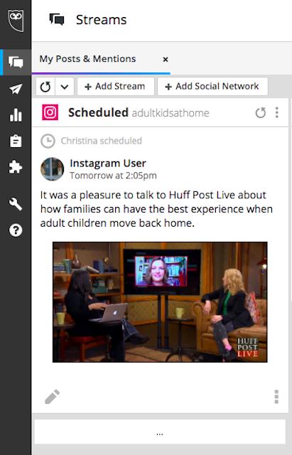Screenshot of a scheduled Instagram post in Hootsuite