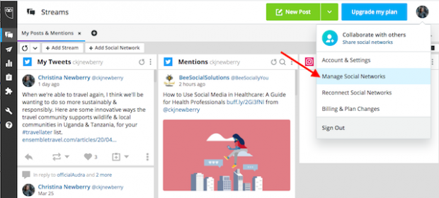 """Option to """"Manage Social Networks"""" in Hootsuite"""