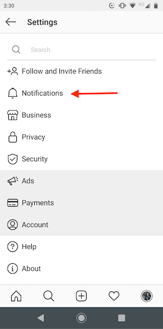 Instagram Notifications button on the menu
