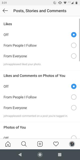 Notification options in Instagram