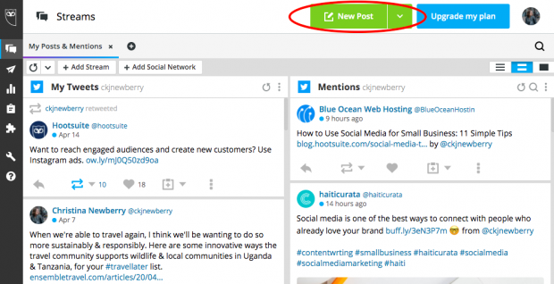 """""""New Post"""" button in Hootsuite's scheduling tool"""