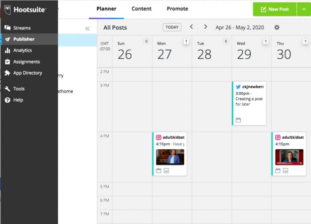 Screenshot of Hootsuite's social media scheduling calendar tool