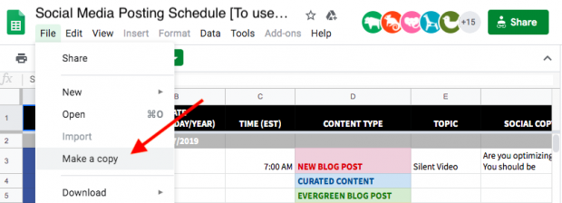 """Screenshot of option to """"Make a copy"""" of the social media posting schedule template"""