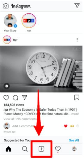plus button on Instagram