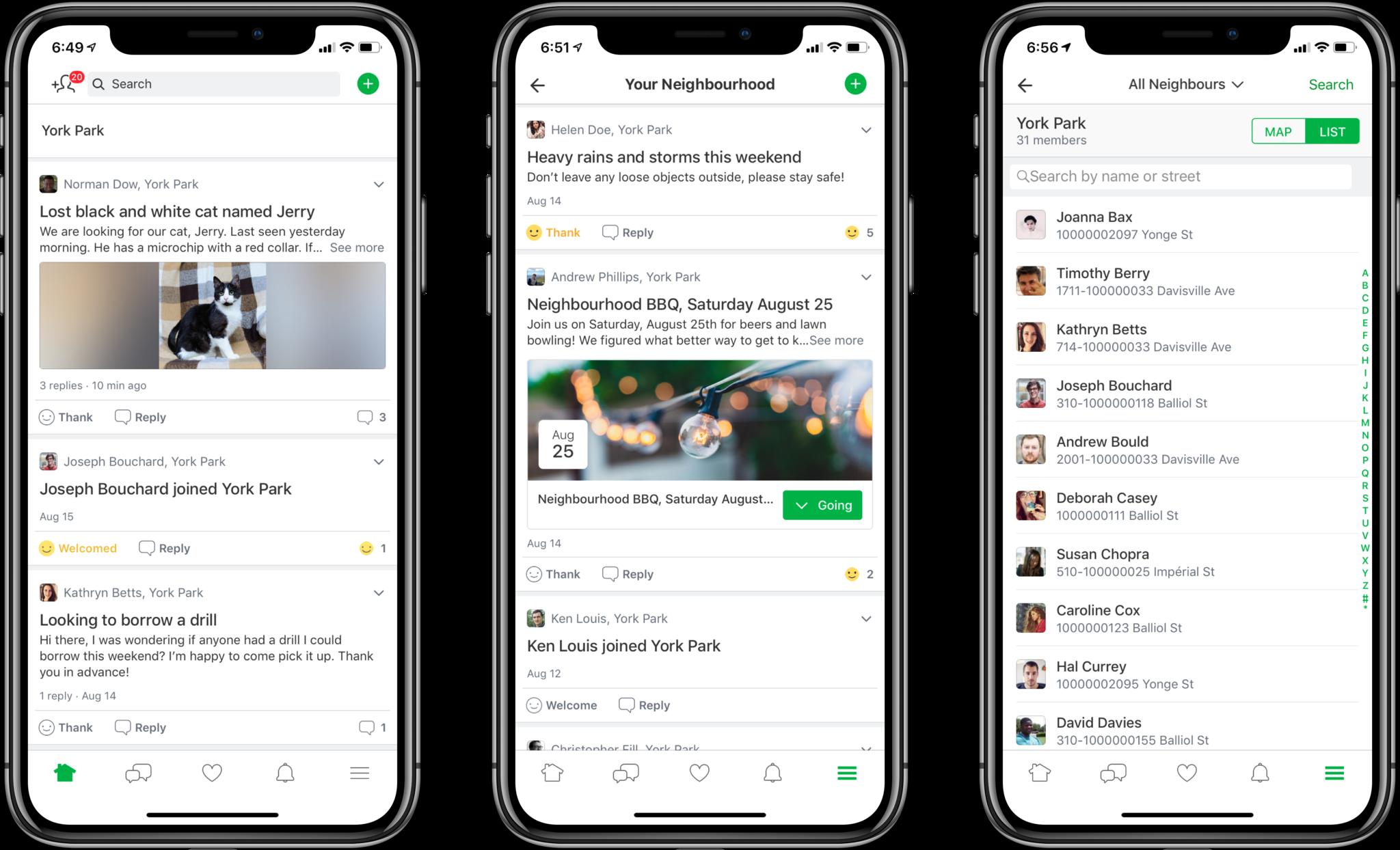individuals posting on Nextdoor across 3 screens