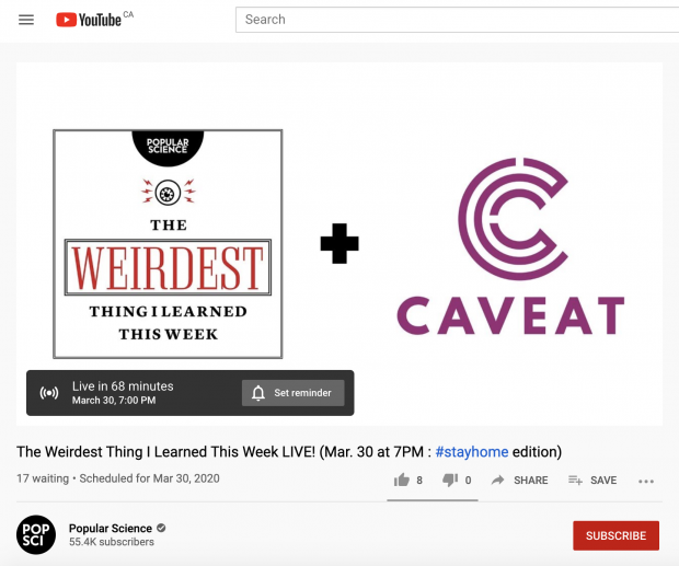 """YouTube live stream reminder from """"The weirdest thing I learned this week"""""""