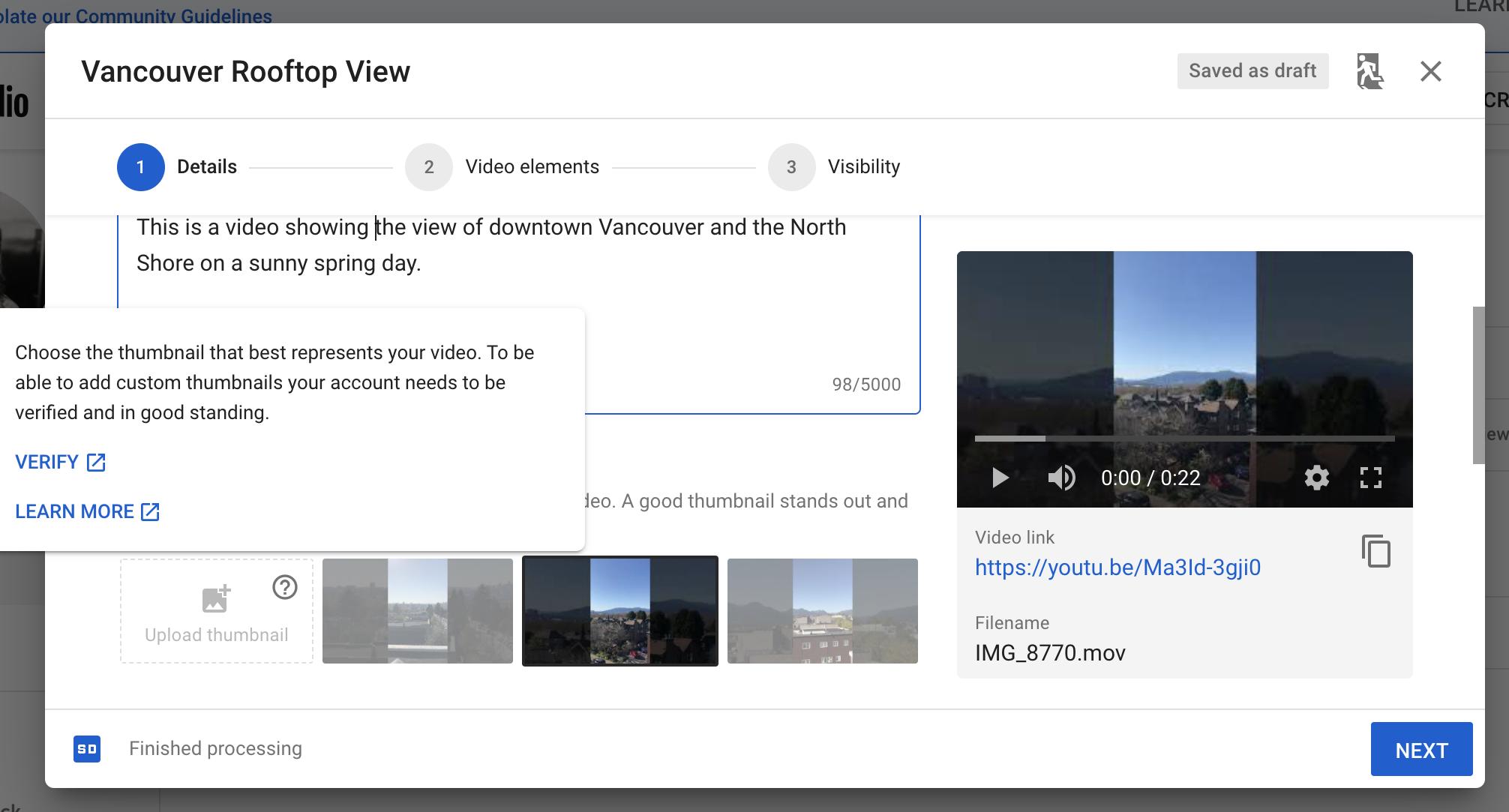 choosing custom thumbnail image for YouTube video