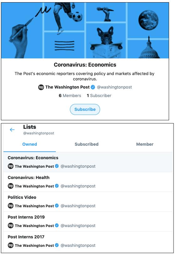Washington Post's Coronavirus Twitter lists
