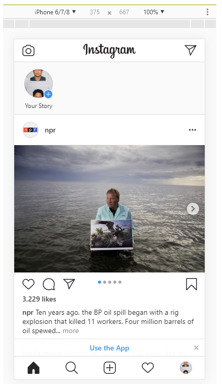 Instagram mobile interface on desktop