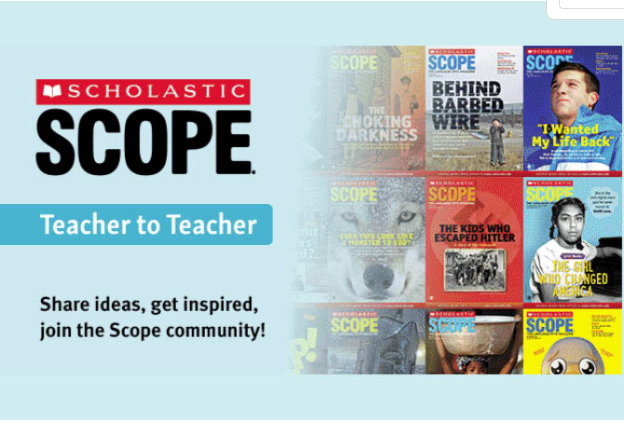 Scholastic Scope Blog ad with CTA to join the Scholastic community